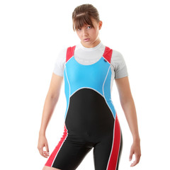 Young woman in rowing suit