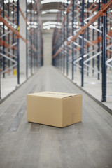 Box on warehouse floor