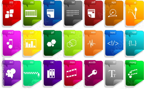wide collection of colourful files icons