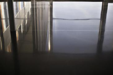 Reflection in office floor