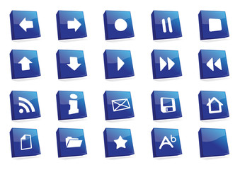 icons 3d square blue