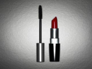 Close up of lipstick and mascara brush