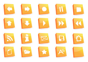 icons 3d square orange