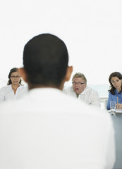 Surprised businessman in interview in conference room
