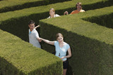 Young adults holding hands in a hedge maze