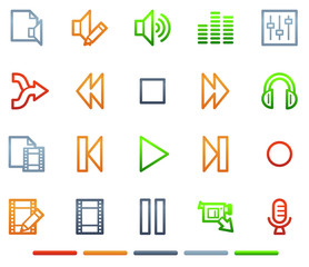 Audio video edit web icons, colour symbols series