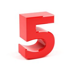 Number five on a white background.