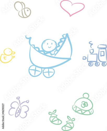 Quot clipart set baby spielzeug und tiere stockfotos