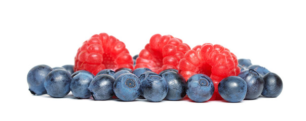 Ripe blueberries and raspberries.