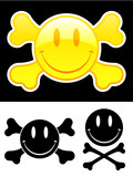 Smiley face with crossbones poster