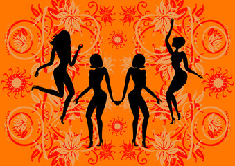 Illustration of young beautiful ladies dancing disco