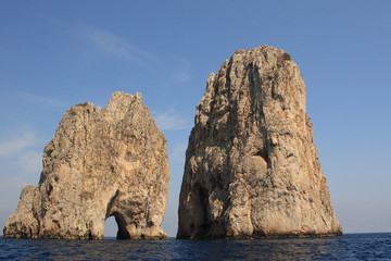 Sea level view of the Faraglioni in Capri, Naples