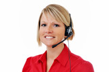 Female Customer Service Representative with Headset poster
