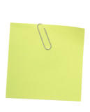 green reminder note with paper clip poster