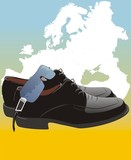 Masculine shoes and glasses on the map of Europe. Vector poster