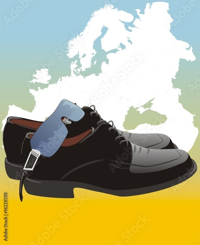 poster of Masculine shoes and glasses on the map of Europe. Vector