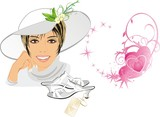 Beautiful woman with hat and shoes. Romance composition. Vector