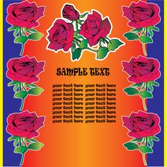 Beautiful red roses on a orange background with sample text.