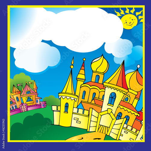 Papiers peints Chateau Beautiful palace in sunny weather. Vector art-illustration.
