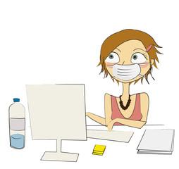 femme grippe masque au travail