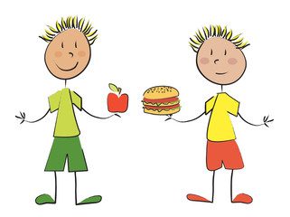 2 enfants pomme hamburger