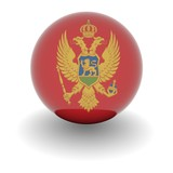 High resolution ball with flag of Montenegro poster