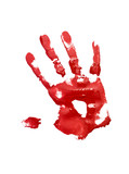 Red handprint on white