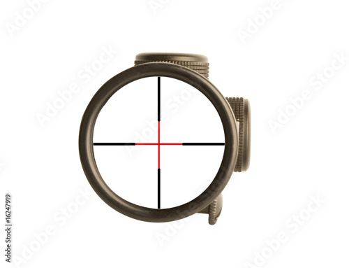 Image of a rifle scope sight used for aiming with a weapon