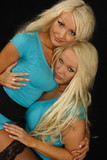 two blondes in blue