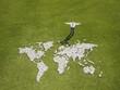 Businessman standing near world map made of rocks