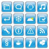 Web buttons (miscellaneous) (x16) (vector; blue) poster