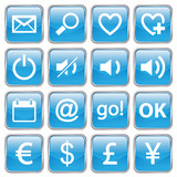 Web buttons (Miscellaneous IV) (vector; blue) (x16) poster