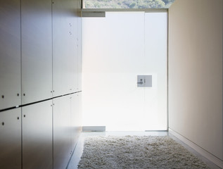 """Interior of modern house, glass door entrance"""