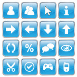 Web buttons (Miscellaneous VI) (vector; blue) (x16) poster