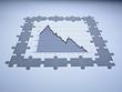 Puzzle pieces surrounding descending line graph