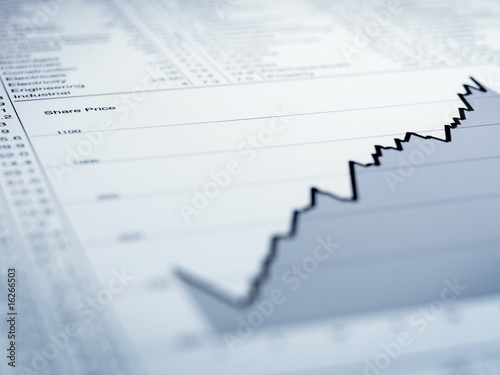 Ascending line graph and list of share prices
