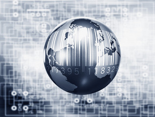"""Montage of globe, microchip and bar code"""