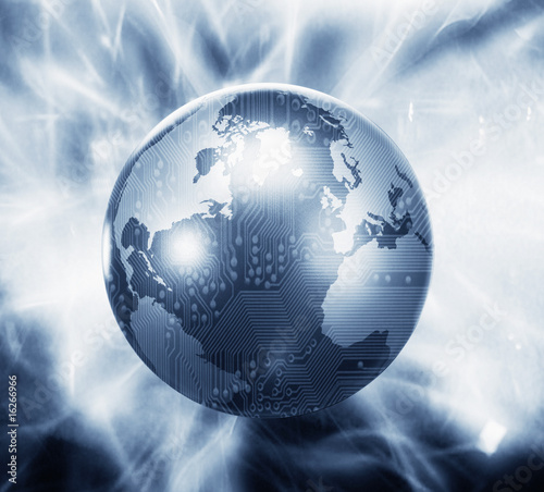 Glowing globe with microchip overlay