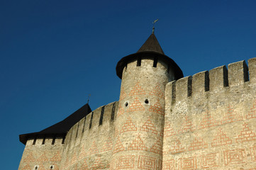 Wall of old castle in Hotyn, Ukraine
