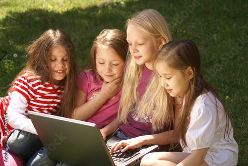 Young girls with laptop
