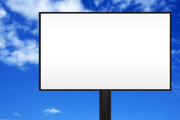 Blank billboard under a beautiful blue sky