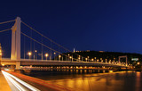 Budapest in night at the Danube poster