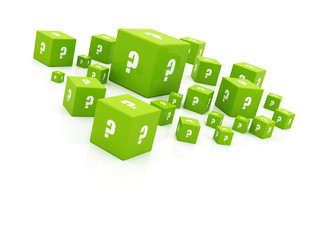 "green ""question mark"" cubes falling"