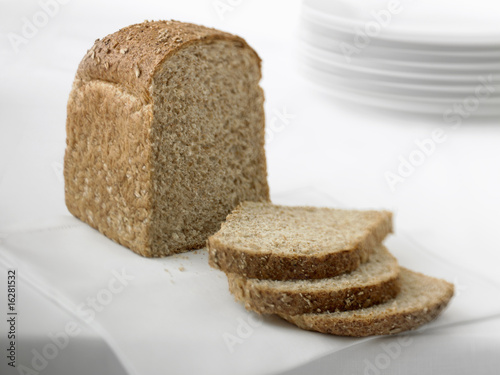 Close up of sliced loaf of fresh bread