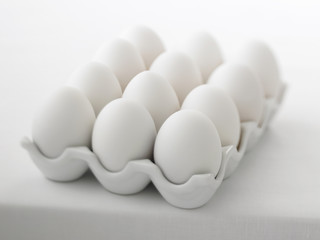 Close up of a dozen eggs