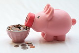 Feeding a piggy bank with dollar coins poster