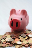 Piggy bank on a pile of euro coins poster
