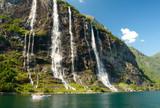Yacht in Norwegian fjord poster