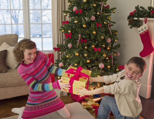 Boy and girl tugging at Christmas gift in living room