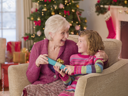 Girl giving grandmother Christmas gift